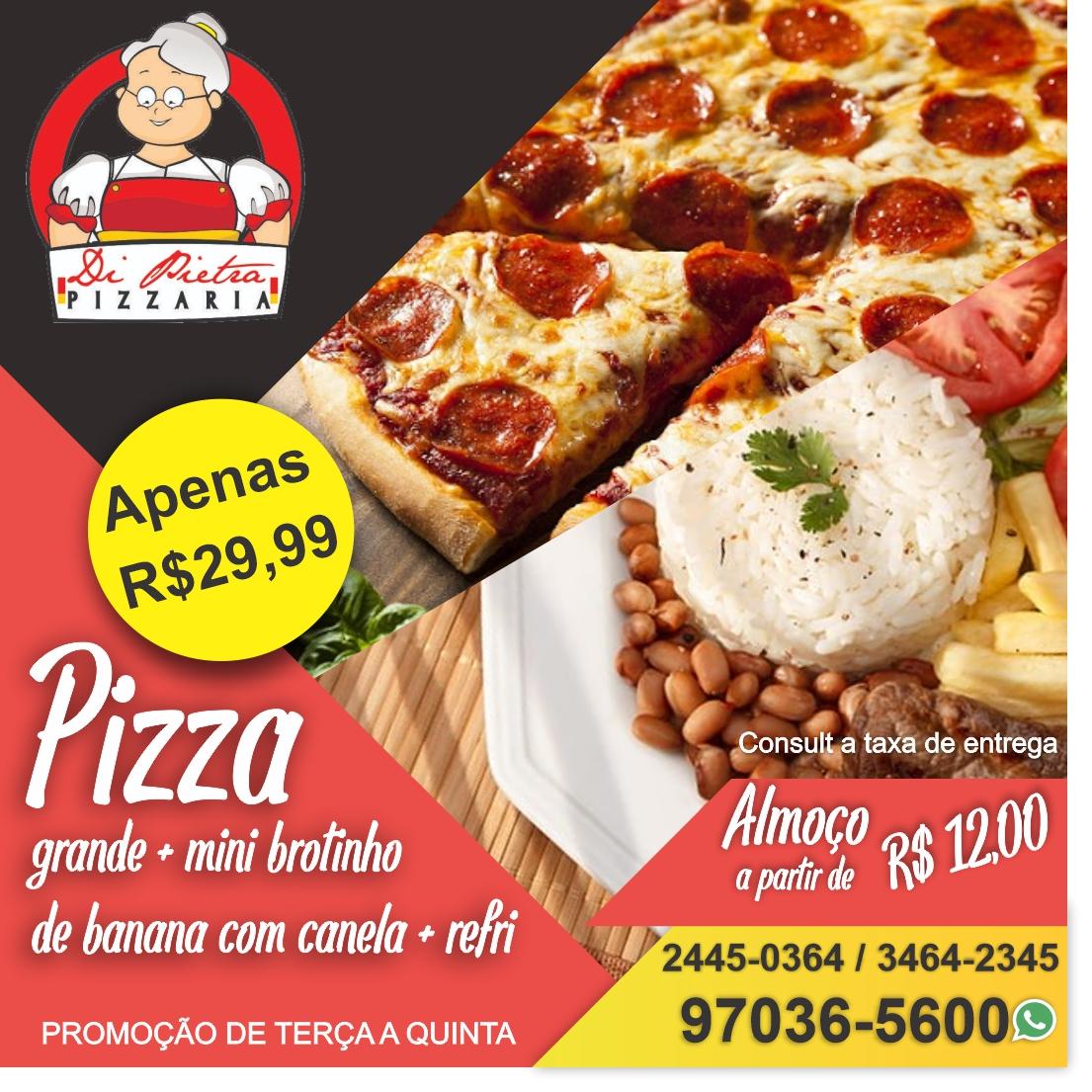 Pizzaria Di Pietra, Pizza, almoço e quentinhas