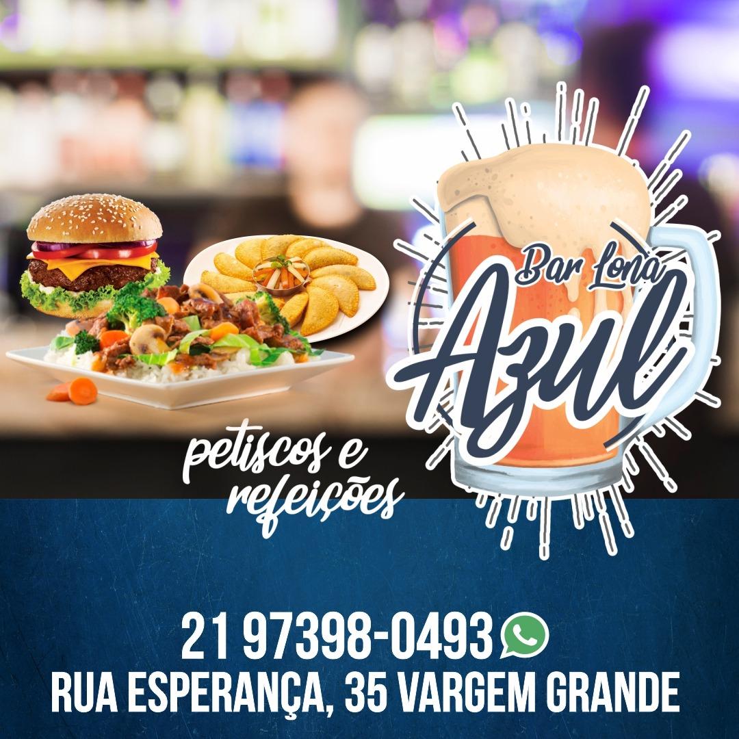 Restaurante e bar Lona Azul, almoço, pratos executivos, petiscos e bebidas. Vargem Grande Rj